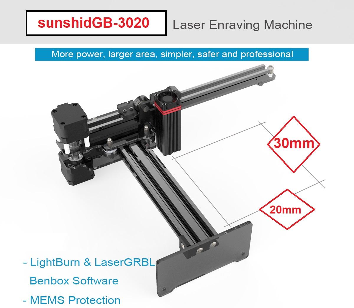 دستگاه لیزر حکاکی و برش لیزری سانشید مدل GB-3020
